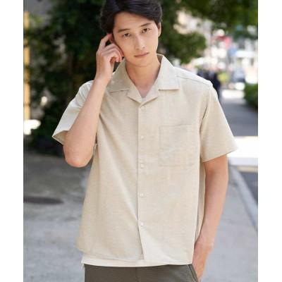 【アー・ヴェ・ヴェ】 オープンカラーシャツ[WEB限定サイズ] メンズ ベージュ S a.v.v