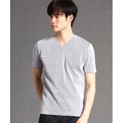 【ハイダウェイニコル】 ナロ−サッカ−ストライプVネックTシャツ メンズ 91その他2 48(L) HIDEAWAYS NICOLE
