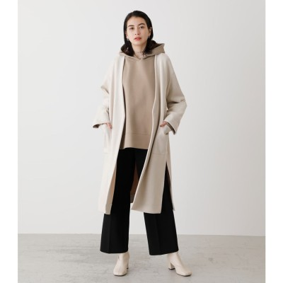 ECO SUEDE COLLARLESS COAT L/BEG1