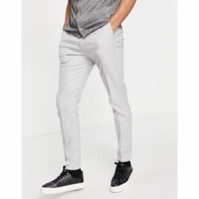 エイソス ASOS DESIGN メンズ ジョガーパンツ スキニー ボトムス・パンツ Skinny Smart Jogger In Grey Linen グレー