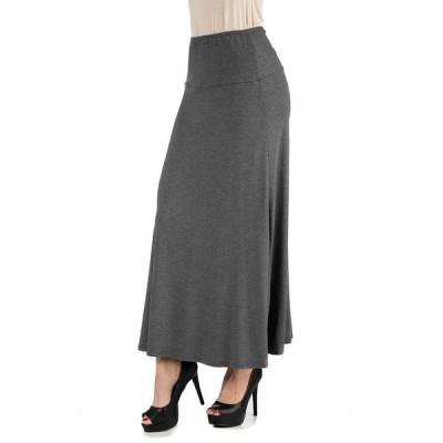 24セブンコンフォート スカート ボトムス レディース Women's Plus Size Elastic Waist Maxi Skirt Smoke