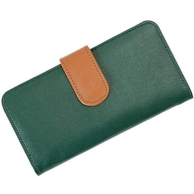 (1735)8色 2トーン スマホ入れたまま操作可能 小銭入れ付き ベルトデザインがかわいい 小銭入れ付き スマホケース&長財布 (モスグリ
