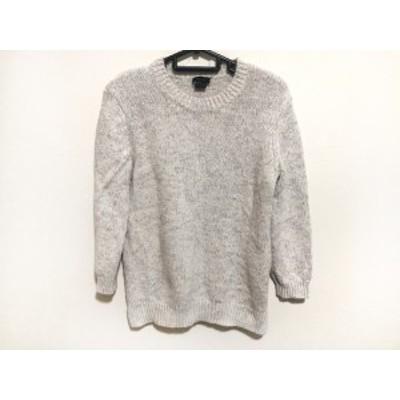 セオリー theory 七分袖セーター サイズS レディース 白×ライトグレー【中古】20200510