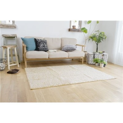 防ダニ ラグマット/絨毯 〔90×130cm 長方形 ベージュ〕 日本製 洗える 防滑 『スミノエ ミランジュ』 〔リビング ダイニング〕〔代引不可〕