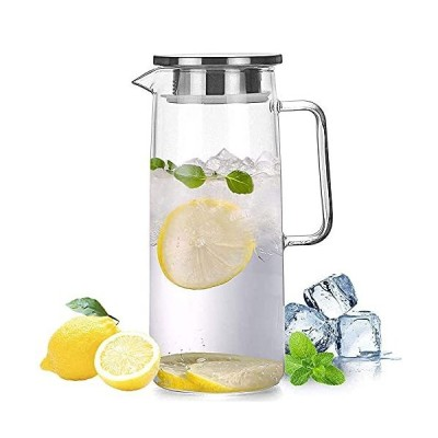 HwaHan Glass Pitcher Carafe with Stainless Steel Flip-top, Water Jug for Ic