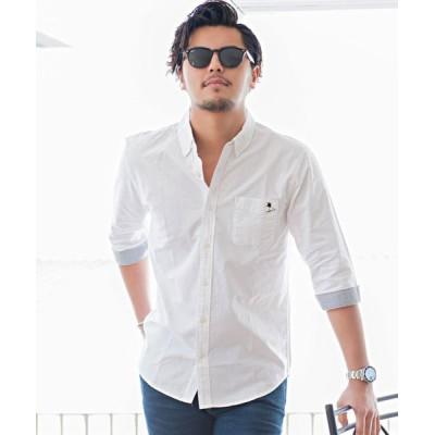 【シルバーバレット】 CavariAオックスワンポイント刺繍7分袖ボタンダウンシャツ メンズ ホワイト 44(M) SILVER BULLET
