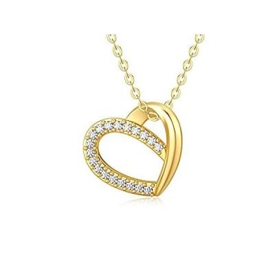 ソリッド14Kゴールドダイヤモンドハートネックレス レディース 輝く天然ダイヤモンド オープンラブハートペンダントネックレス ラブジュエリー 妻 母親