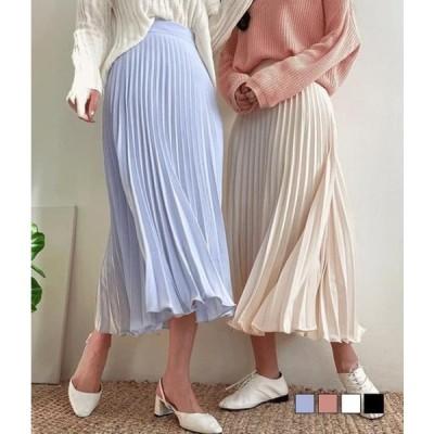 gifteabox レディース スカート Bijou pleated pleated long skirt
