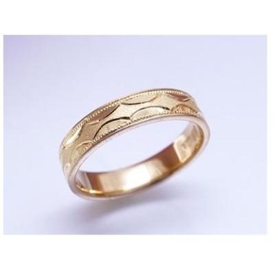 純金リング 大きいサイズ 指輪 K24 平打七宝彫巾4mm6g 手彫彫金 マリッジ 高密度 記念日 ギフト 花言葉