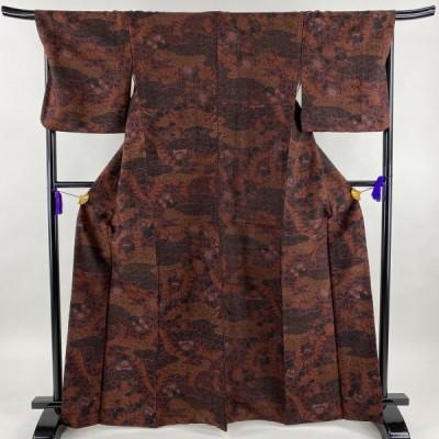 小紋 美品 優品 紬地 草花 赤紫 袷 身丈165cm 裄丈69.5cm L 正絹 中古