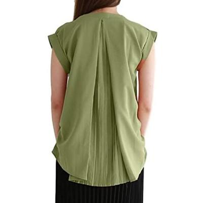 バックプリーツ ブラウス カットソー シャツ tシャツ 半袖ブラウス 半袖シャツ カジュアル 白(カーキグリーン, Free Size)