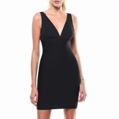 ファッションラボ ボディコンドレス s/l v-neck bandage dress Black