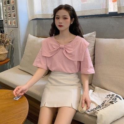 ブラウス半袖リボン風ワイド襟ラウンドネック無地ゆったりタイプカジュアル韓国ファッション学生