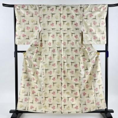 紬 秀品 幾何学 クリーム 袷 身丈161cm 裄丈66.5cm M 正絹 中古