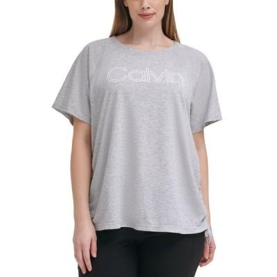 カルバンクライン カットソー トップス レディース Plus Size Outline Logo Ruched Side Top Pearl Grey Heather