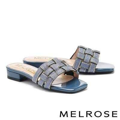拖鞋 MELROSE 時尚金蔥水鑽編織造型方頭低跟拖鞋-藍