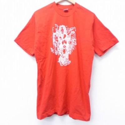 古着 半袖 ビンテージ ロック バンド Tシャツ 90年代 90s コットン クルーネック USA製 赤 レッド Lサイズ 中古 メンズ Tシャツ 古着