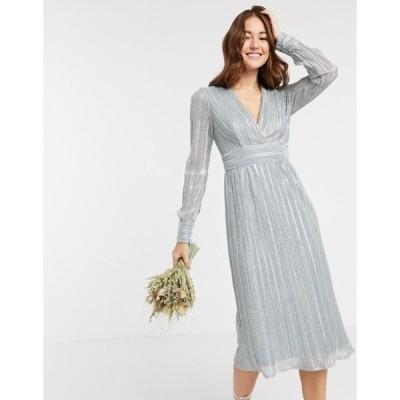 ティエフエヌシー レディース ワンピース トップス TFNC bridesmaid long sleeve pleated midi dress in blue metallic