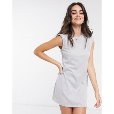 ストラディバリウス レディース ワンピース トップス Stradivarius padded shoulder dress in gray Grey