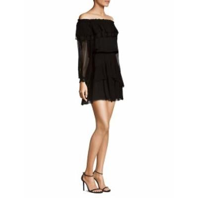 パーカー レディース ワンピース Palmero Ruffled Off-The-Shoulder Silk Dress