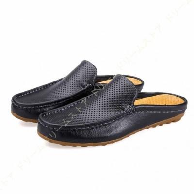メンズ カジュアル クロスシューズ 皮靴 スリップオンローファー レジャー ヴィンテージ フラットボートシューズ