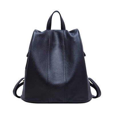 BOYATU Leather Backpack for Ladies Large Travel Bag Womens Anti-Theft Shoulder Daypack Black 並行輸入品