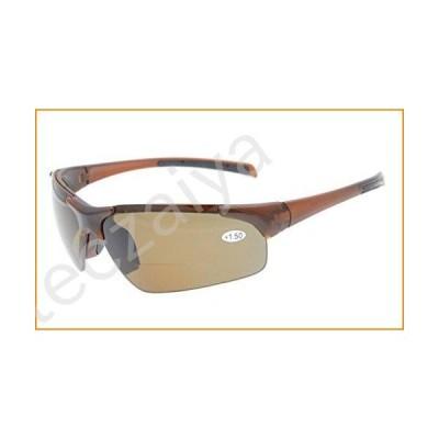 Eyekepper TR90 Unbreakable Sports Half-Rimless Bifocal Sunglasses Baseball Running Fishing Driving Golf Softball Hiking Brown Frame Brown Lens +1.5【