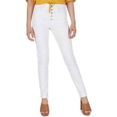 ヌメロ Numero レディース ジーンズ・デニム クロップド ボトムス・パンツ High-Rise Exposed-Button Cropped Skinny Jeans White