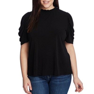 セセ レディース Tシャツ トップス Plus Size Ruffle Mock Neck Short Shirred Sleeve Knit Top Rich Black