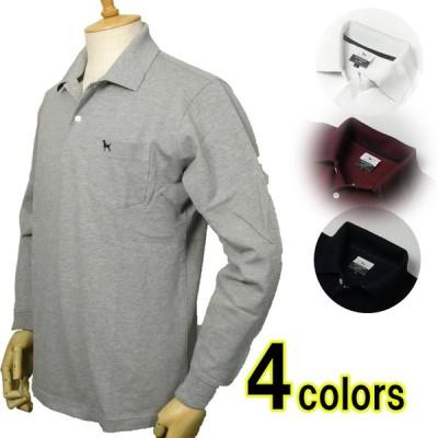 メンズ 長袖 ケン・コレクション/ken collection カノコポロシャツ 綿100% 襟裏ロゴ 4色
