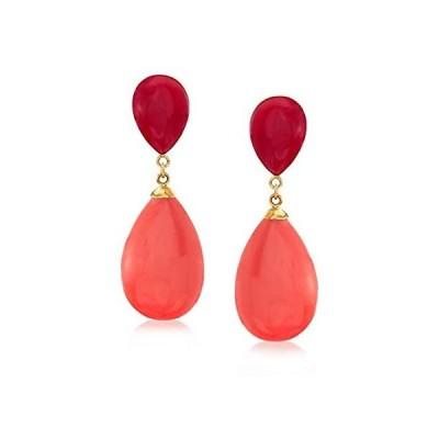 特別価格Ross-Simons Tonal Red Simulated Coral Teardrop Earrings in 14kt Yellow Gold並行輸入品