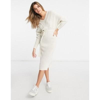 ナーナー NaaNaa レディース ワンピース Vネック ワンピース・ドレス V Neck Knitted Jumper Dress In Stone ベージュ