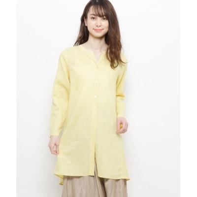 【エッシュ】 麻混ボタンデザインシャツ レディース イエロー 42(L/ミセス) esche