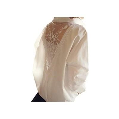 (エークローゼット) A CLOSET バック レース刺繍 シースルー 長袖 襟付き シャツ (L)