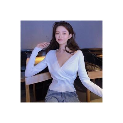 【送料無料】秋冬 気質Vネック 長袖セーター ファッション 韓国風 ウエストマーク | 364331_A63935-7364645