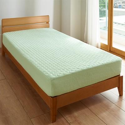パッド一体型ベッドシーツ(ほつれにくいマイヤータオル)/肌側綿100%/ミントグリーン/セミダブル(120×200×高さ25)
