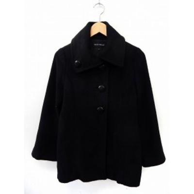 【中古】ミッシュマッシュ MISCH MASCH コート アウター ビッグカラー シンプル ポケット M 黒 ブラック