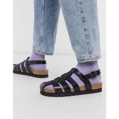 グレンソン Grenson メンズ サンダル シューズ・靴 cyrus strap sandles black leather ブラック