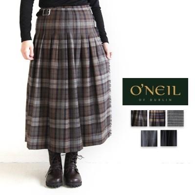 オニール ONEIL NOD853 キルティングスカート ラップスカート ブラックウォッチ ライトモス ゆったり ファッション プミラ pumila ナチュラル レディース