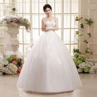ウエディングドレス 結婚式 披露宴 安い 可愛い チューブトップ フェミニン ブライズメイド ブライダル プリンセス【S-XXL】