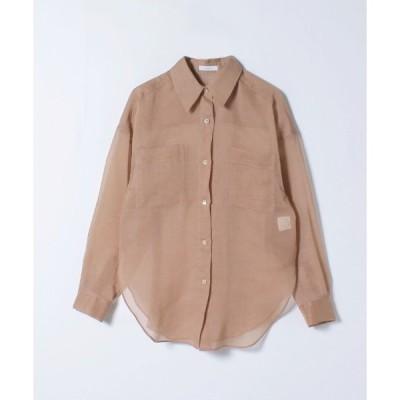 シャツ ブラウス 《洗える》ソフトオーガンジーシアーシャツ