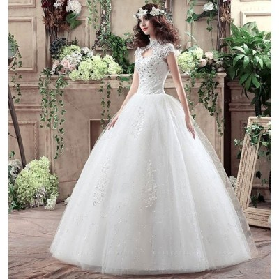 結婚式花嫁ドレスウェディングドレスノースリーブワンピースレースアップ