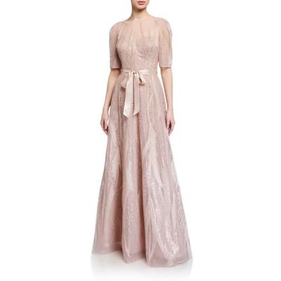 テリージョン レディース ワンピース トップス Embroidered Tulle Elbow-Sleeve Gown