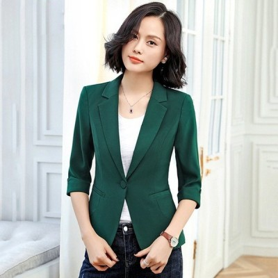緑 テーラードジャケット レディース 7分袖 夏 薄手 サマージャケット 通勤 OL オフィス ホワイト ブラック スーツジャケット スリム 着痩せ