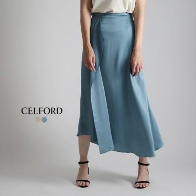 **CELFORD〔セルフォード〕CWFS192024サテンアシンメトリータックマーメイドスカート【CS】【SS】