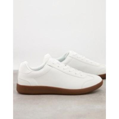 エイソス メンズ スニーカー シューズ ASOS DESIGN lace up sneakers in white faux suede with gum sole White