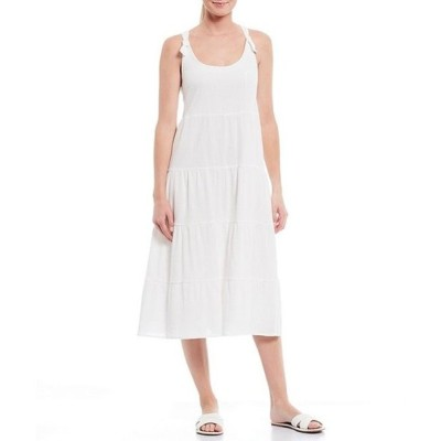 ジャンビニ レディース ワンピース トップス Layla Scoop Neck Tiered Hem Cotton Midi Dress