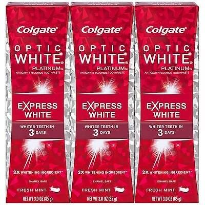[米国へ無料直送] コルゲート オプティック ホワイト エクスプレス ホワイトニング 歯磨き粉トラベル フレンドリー - 3オンス(3パック) Colgate Optic White Expres