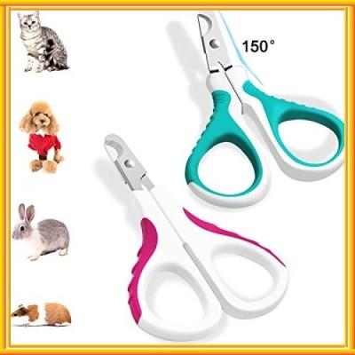 2パック動物ネイルクリッパー、FineGoodステンレス製ペットネイルグルーミングクロークリッパーキットネコ犬用