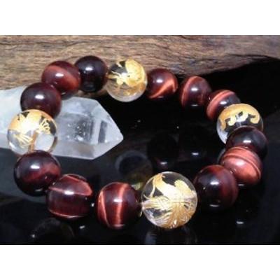 金四神獣水晶14ミリレッドタイガーアイ12ミリ数珠